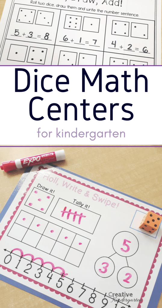 Dice math centers for kindergarten. Work on number sense, addition and subtraction with these fun math activities and worksheets. Great for reinforcing, introducing or assessing student's math knowledge.