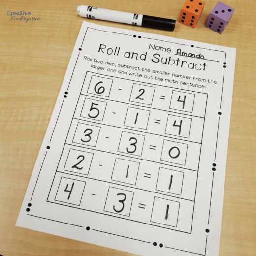 Roll and subtract subtraction worksheet for kindergarten math centers using dice. Great for working on math skills, number sense and reinforcing subtraction.