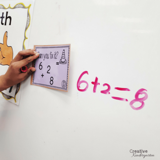 Can You Fix It? Task cards for reinforcing addition and subtraction math sentences in kindergarten. Great for whole group math instruction, or for a math center activity.