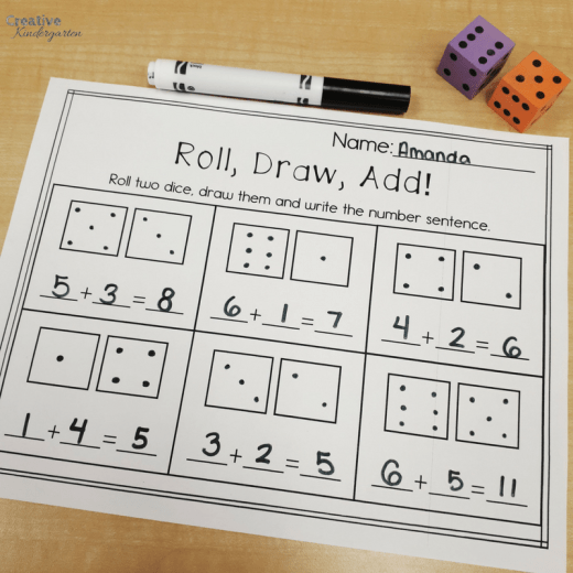 Roll and add addition worksheet for kindergarten math centers using dice. Great for working on math skills, number sense and reinforcing addition.