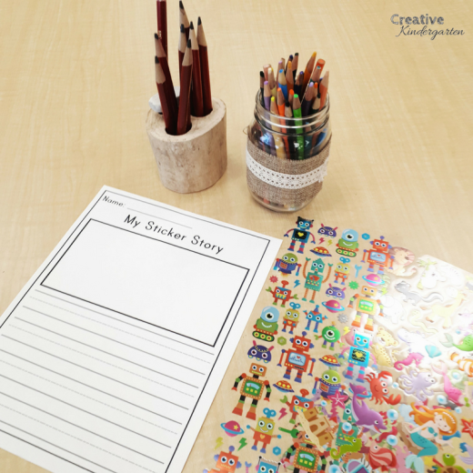 Sticker story writing center for kindergarten literacy activities. Students use stickers to create their own stories, illustrate it and write their own story.
