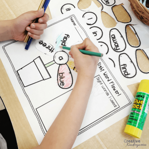 Build a sight word flower literacy center for kindergarten. Reinforce sight word recognition and spelling with this fun, play-based activity.