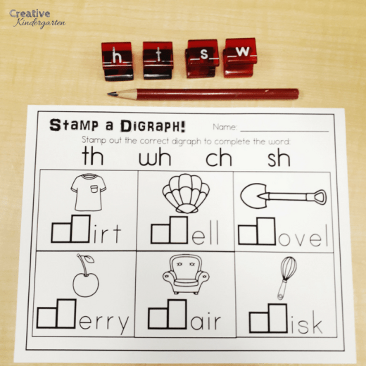 Stamp a digraph literacy center for kindergarten.