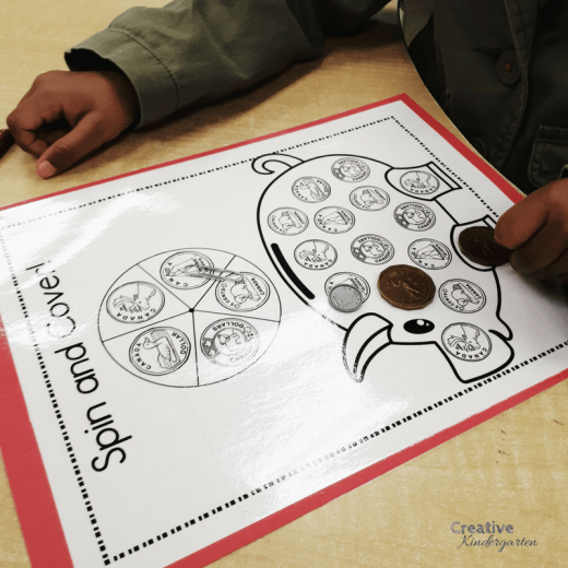 Kindergarten money activities to reinforce U.S. and Canadian coins. Teaches to identify coins, coin values and adding coins.