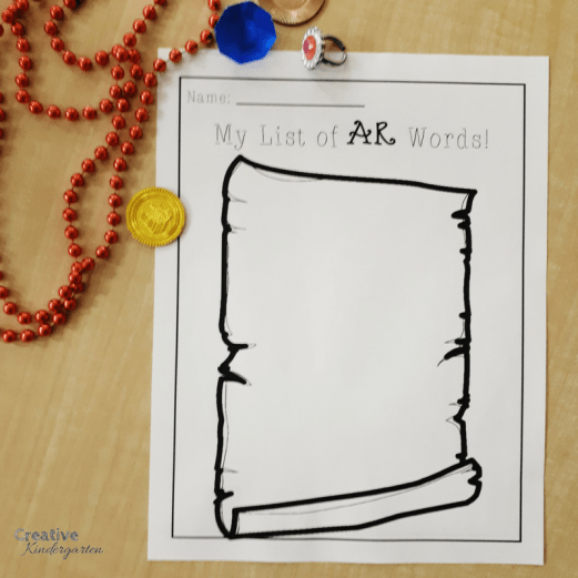 Pirate week activities for our kindergarten classroom. Fine motor station with treasure map, AR word list literacy center, pirate sensory bin, dramatic play and more!