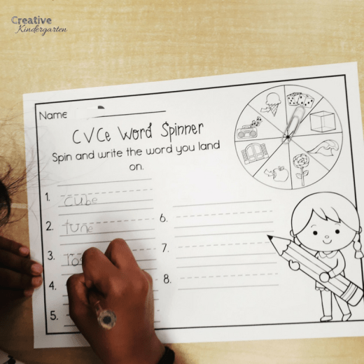 Spin and make the CVCe word spinner activity for kindergarten literacy centers. Fun, hands-on learning activity to reinforce CVCe word writing and reading.