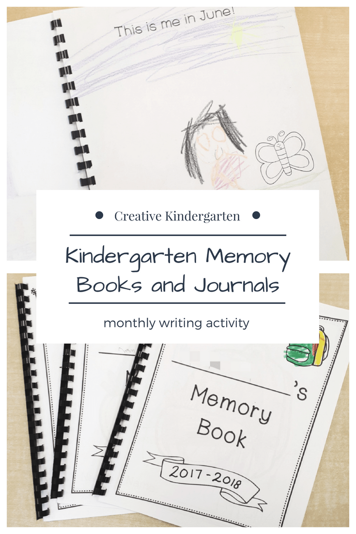 Kindergarten memory journals and books for beginning writers and early writers. Monthly writing activity for kindergarten students to make a book at the end of the year to show their progress.