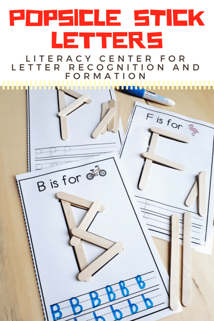 Popsicle Stick Letters literacy center for kindergarten. Reinforce letter recognition and letter formation with this fun, hands-on activity. Fun, play-based literacy center idea.