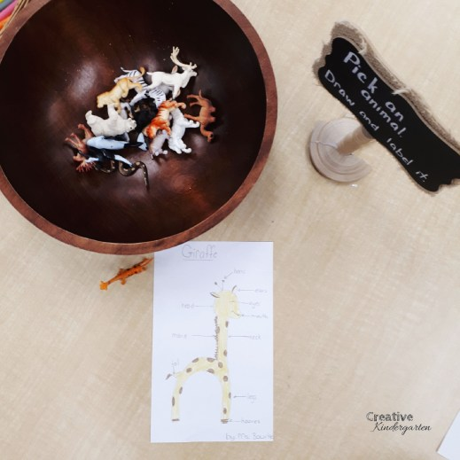 Pick an animal, draw it, label it literacy activity for kindergarten centers. A fun writing activity that is easy to prep and works on labeling, writing and drawing skills.