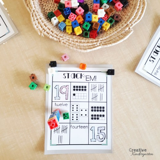 Teen number stacking game that is perfect for number sense skills for teen numbers using subitizing skills. Great for grade 1 math centers, or for a challenge in kindergarten.