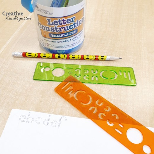 Letter construction stencils for kindergarten literacy centers and letter formation practice.