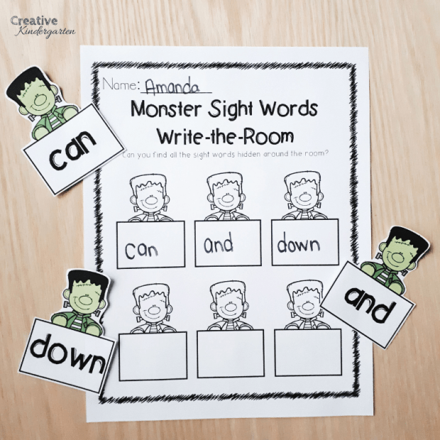 Monster sight word literacy center for Halloween activities. Practice sight word recognition and spelling with these fun, hands-on activities.