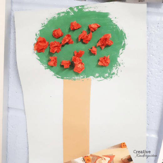 Process art activity to make an apple tree using mixed media. A fun art project for kindergarten fall centers.