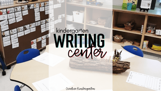 Kindergarten writing center with sight word wall and writing tools to support students with their writing activities