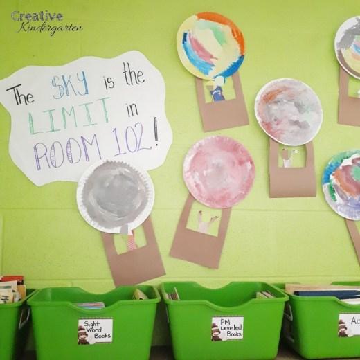 Hot air balloon art for bulletin board in kindergarten or art project.