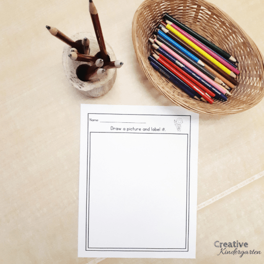FREEBIE simple writing template for writer's workshop to practice drawing and labeling pictures. Perfect beginner writer's literacy center for kindergarten.