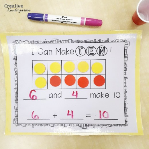 Making ten with two-colour counters. Hands-on math center practice for composing and decomposing numbers using a ten frame.