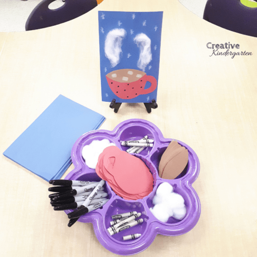 Hot chocolate craft idea for kindergarten. Students can decorate their own mug of hot chocolate for this fun invitation to create or art piece.