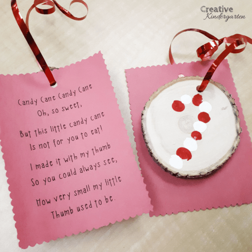 candy cane thumbprint ornament for christmas gift in kindergarten. this cute holiday present is to make and a great keepsake.