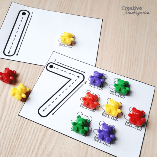 Use math manipulated like Counting Bears to practice counting, 1:1 correspondence, and number formations.