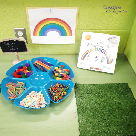 Make a rainbow provocation using loose parts. Students used different materials to make their own unique rainbow.
