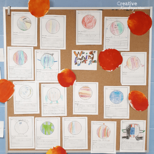 Have fun with these math and literacy center ideas for kindergarten. Perfect for your space unit and includes a free download for a writing prompt.  Centers for your space theme and includes a FREEBIE