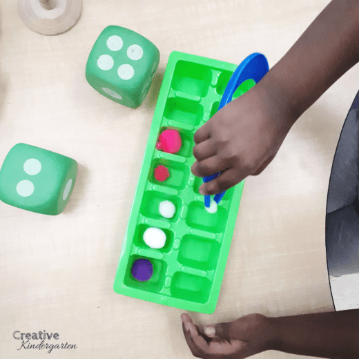 Roll and add with this hands-on math provocation that will work on addition skills, counting, number sense and fine motor skills. A fun math center for kindergarten.