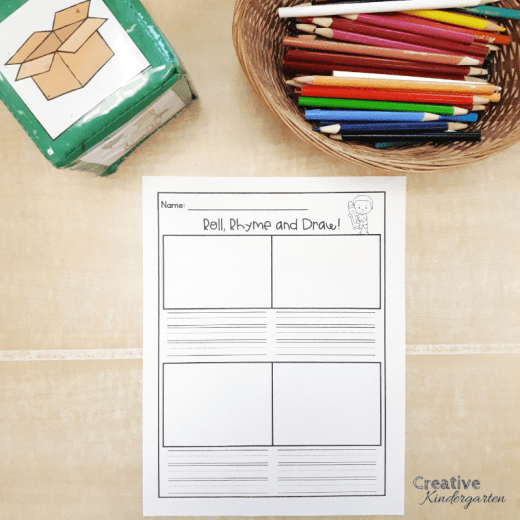 Roll and Rhyme literacy center for kindergarten. Practice creative writing and rhyming skills with this activity. Can be used for kindergarten or grade 1.