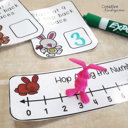 Reinforce subtracting with a number line with this fun, hands-on math center. A great spring or Easter themed activity to learn how to subtract.