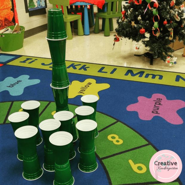 I bought these green cups and challenged our students to build the tallest Christmas Tree that they could. We recorded how tall they could make it, and compared their answers. This was a fun way to work on a variety of skills.