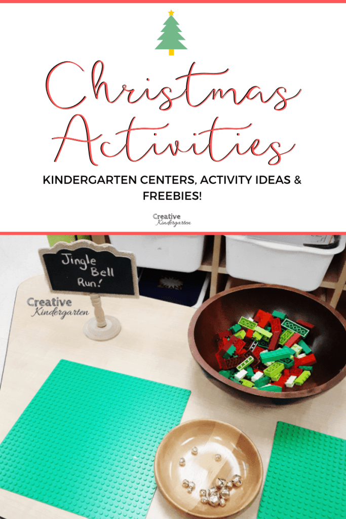Kindergarten Christmas activity ideas, centers, freebies and more. Get free downloads for fun, hands-on learning with christmas trees, lego, STEM, sight words and more. #christmas #freebie #creativekindergarten