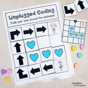 Unplugged Coding Valentine's Day activity to practice coding skills. Computerless coding is a great beginner coding activity for kindergarten using no tech.