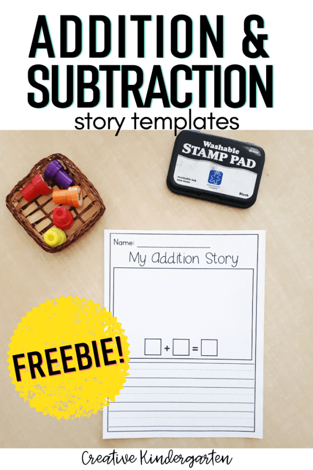 Teach kindergarten addition and subtraction skills with this FREE template. A fun and engaging math center to reinforce adding and subtracting.