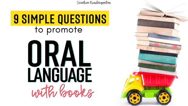 Oral Language: I share 9 simple questions that will promote oral language development in kindergarten. Use these questions with any book during a read-aloud.