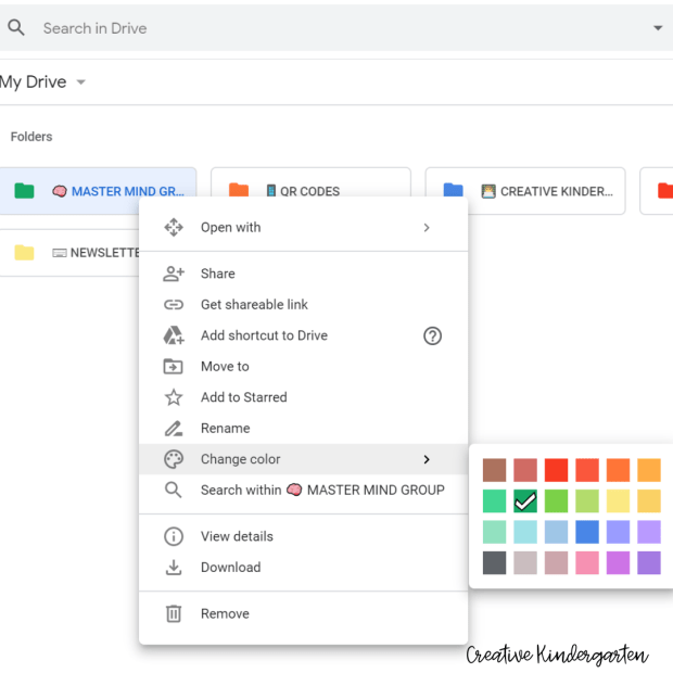 google drive image organizing folders by colour