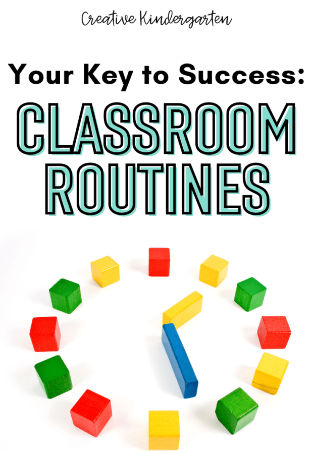 """Text: """"Your Key to Success: Classroom Routines"""" with an image of an analogue clock made out of building blocks. The hands are pointing to 1:25."""