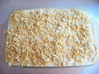 Crackers on top of the creamy mixture