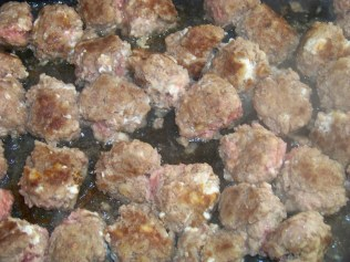 Meatballs are cooked.