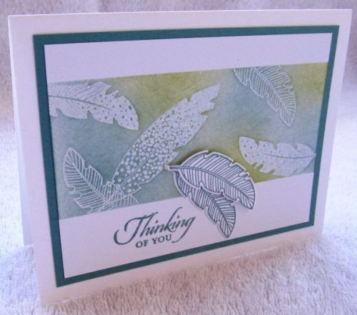 Four Feathers, Stampin' Up!, creativeleeyours, Thinking of You