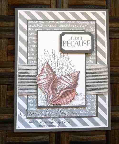 Just Because Shells by Wendy Lee, #creativeleeyours, Stampin' Up!, August 2015 FMN class, By the tide stamp set, Tin of cards stamp set