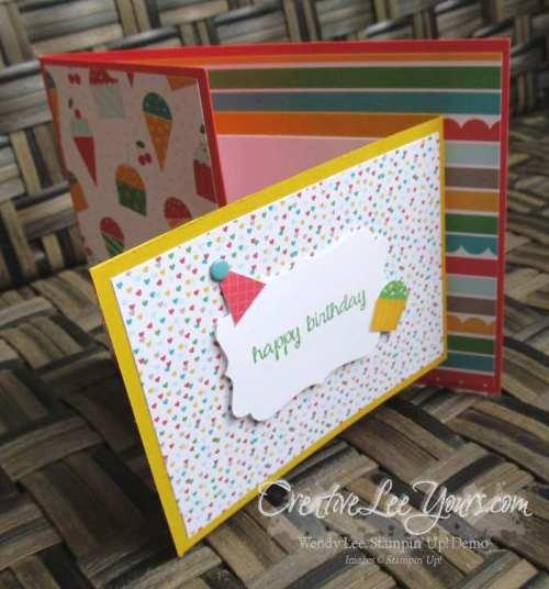 Happy Birthday Flip card, #creativeleeyours, Stampin' Up!, Diemonds team swap