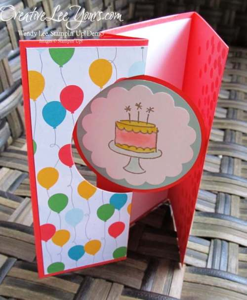 Birthday Wishes Circle Flip Card by Sheila Tatum, #creativeleeyours, Stampin' Up!, Diemonds team swap