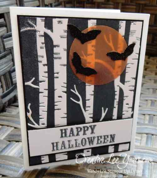Woodland Halloween by Wendy Lee, #creativeleeyours, Stampin' Up!, woodland embossing folder, brayer technique