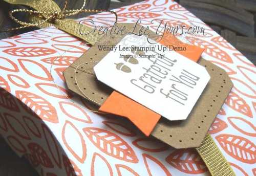 Square pillowbox gift card holder by Wendy Lee, #creativeleeyours, Stampin' Up!, September FMN class