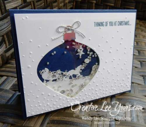 Sleigh Ride Ornament Shaker by Sheila Tatum, #creativeleeyours, Stampin' Up!, Christmas Card, Sleight Ride Edgelits, Delicate Ornament Thinlits
