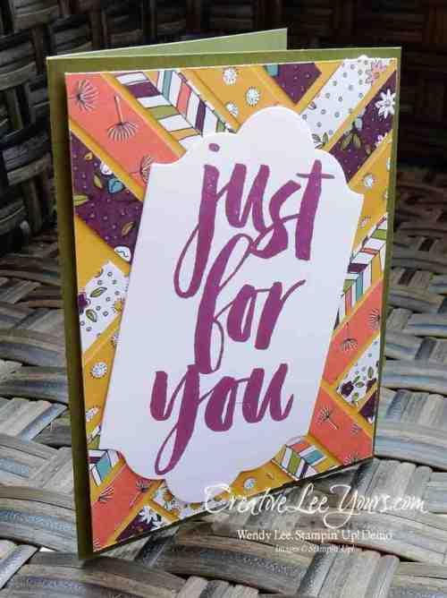 Wildflower Fields Just for You by Jennifer Harrell, #creativeleeyours, Stampin' Up, SAB 2016, Diemonds team swap