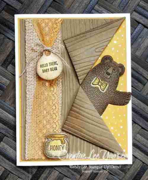 Peek-a-boo Bear by Wendy Lee, #creativeleeyours, Stampin' Up!, April 2016 FMN class, Bear Hugs stamp set, Bear Hugs framelits
