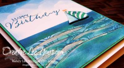 Sailing Birthday by Wendy Lee, Stampin Up, Stamping, #creativeleeyours, swirly bird stamp set, June 2016 FMN class