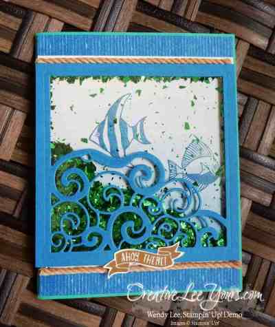 Seaside Shore Shaker by Wendy Lee, Stampin Up, Seaside Shore stamp set, Detailed Santa Thinlits, #creativeleeyours, Hand Made Cards, By the Shore DSP, Masculine