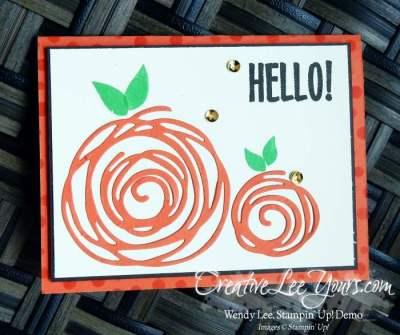 Swirly Pumpkin by Wendy Lee, Stampin Up, August 2016 Paper Pumpkin kit stamp set, Swirly Scribbles Thinlits, Swirly Bird stamp set, #creativeleeyours, Hand Made Cards, September 2016 FMN class